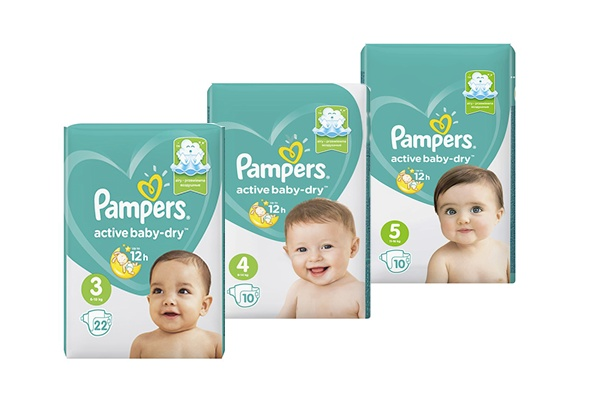 Pampers Active Baby, маленькие упаковки
