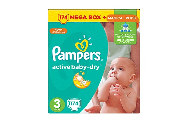 Pampers Active Baby-Dry Midi-3 4-9 ��, 174 ��