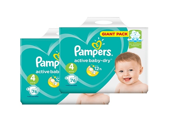 Karlson.by - Подгузники: Pampers Active Baby-Dry-4 9-14 кг, 2х76 = 152 шт