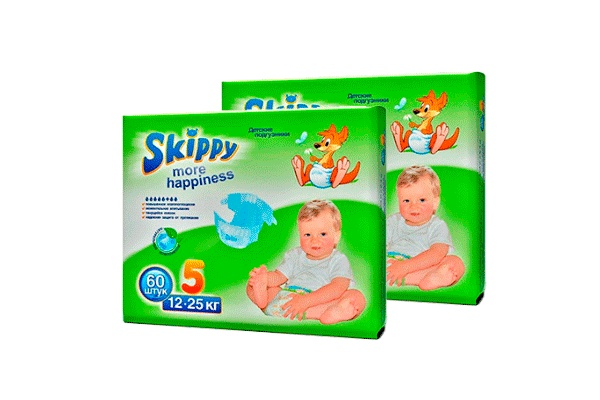 Karlson.by - Подгузники: Skippy More Happiness-5 12-25 кг, 2х60 = 120 шт