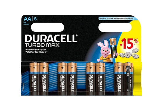 Karlson.by - Батарейки пальчиковые: Duracell Turbomax AA, 8 шт