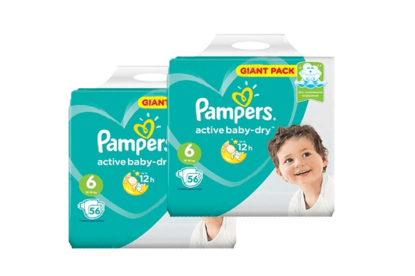 Karlson.by - Подгузники: Pampers Active Baby-Dry-6 13-18 кг, 2х56 = 112 шт