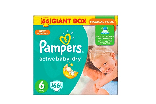 Karlson.by - Подгузники: Pampers Active Baby-Dry Extra Large-6 15+ кг, 66 шт