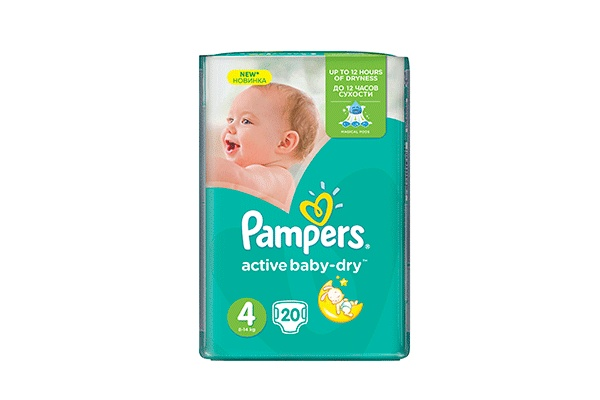 Karlson.by - Подгузники: Pampers Active Baby-Dry-4 8-14 кг, 20 шт