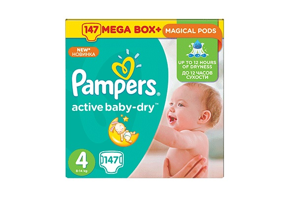 Karlson.by - Подгузники: Pampers Active Baby-Dry Maxi-4 8-14 кг, 147 шт