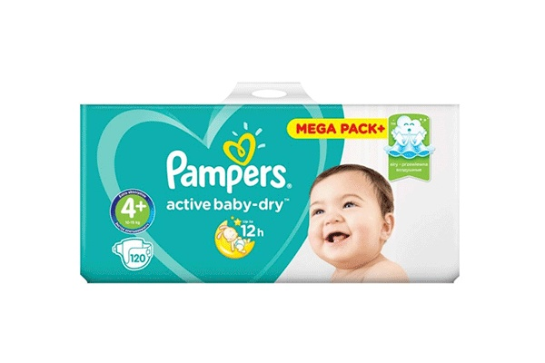 Karlson.by - Подгузники: Pampers Active Baby-Dry MaxiPlus-4+ 9-16 кг, 120 шт