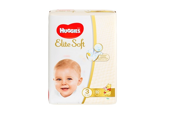 Karlson.by - Подгузники: Huggies Elite Soft-3 5-9 кг, 80 шт
