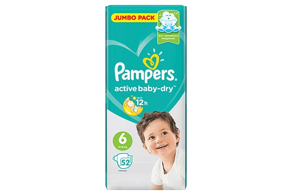 Karlson.by - Подгузники: Pampers Active Baby-Dry-6 13-18 кг, 52 шт