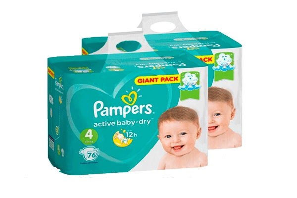 Karlson.by - Подгузники: Pampers Active Baby-Dry-4 8-14 кг, 2х76 = 152 шт