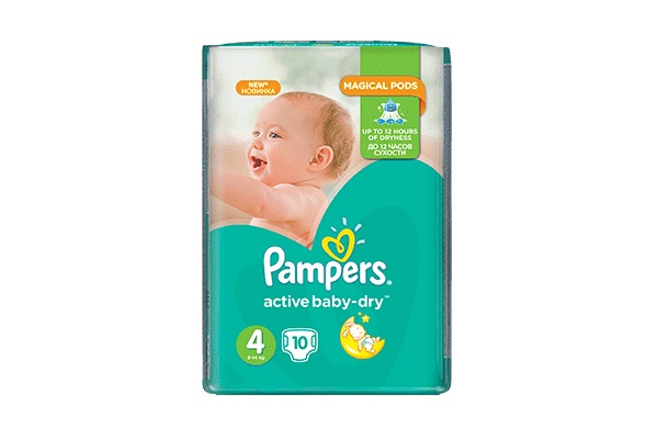 Pampers Active Baby-Dry-4 7-14 кг, 10 шт