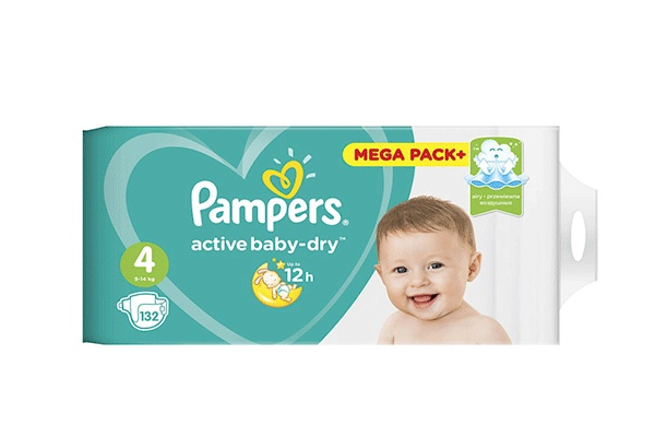 Karlson.by - Подгузники: Pampers Active Baby-Dry Maxi-4 8-14 кг, 132 шт