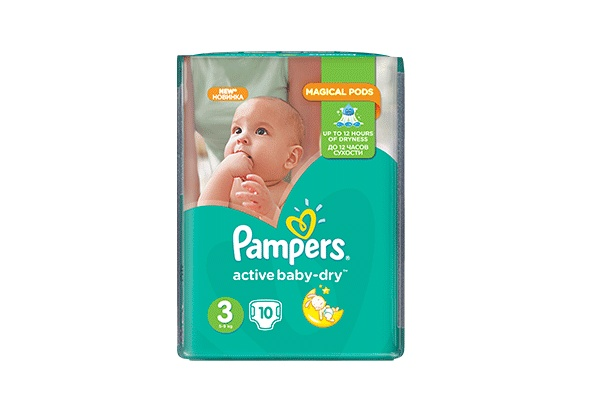 Karlson.by - Подгузники: Pampers Active Baby-Dry-3 4-9 кг, 10 шт
